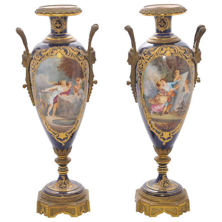 Pair of 19th Century Sevres Porcelain Vases For Sale