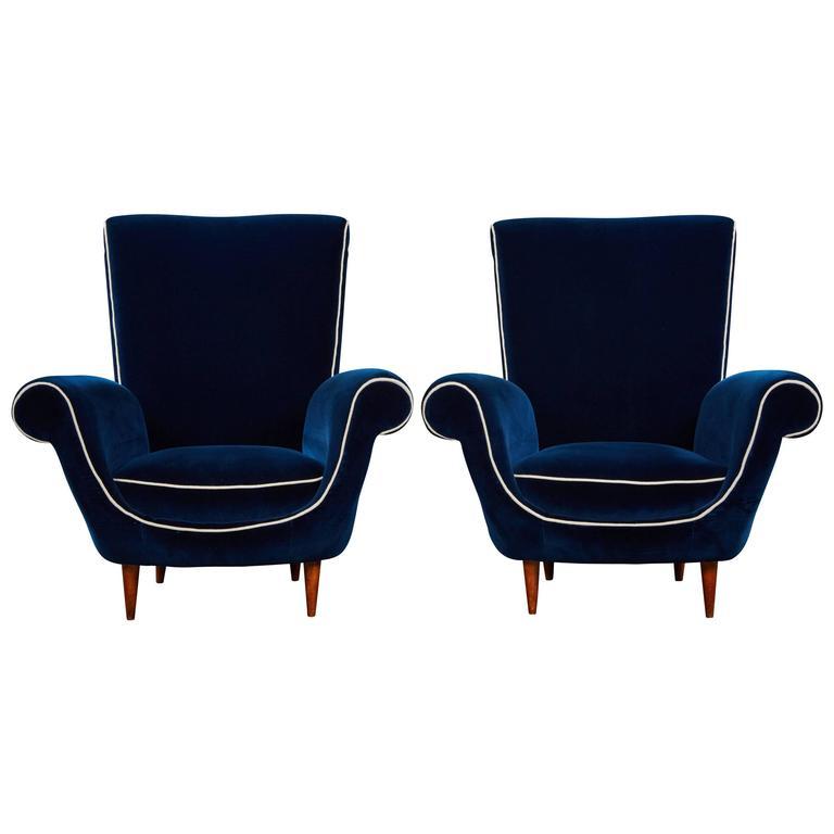 Pair of Ico Parisi Attributed Blue Velvet Armchairs