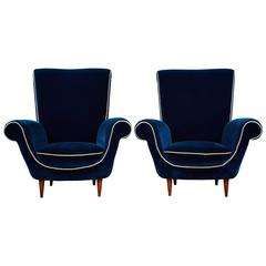 Pair of Ico Parisi Attributed Blue Velvet Armchairs