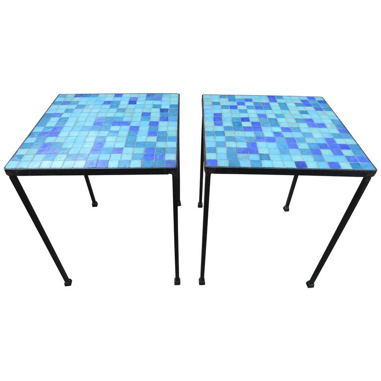 Wonderful Pair of Paul McCobb Inspired Tile Mosaic Top Tables Mid-Century