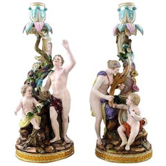 Meissen, Pair of Antique Candlesticks, Rare Candlesticks in High Quality
