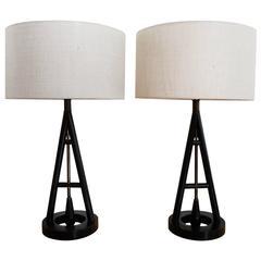 Pair of 1950s Ebonized Oak A-Frame Table Lamps