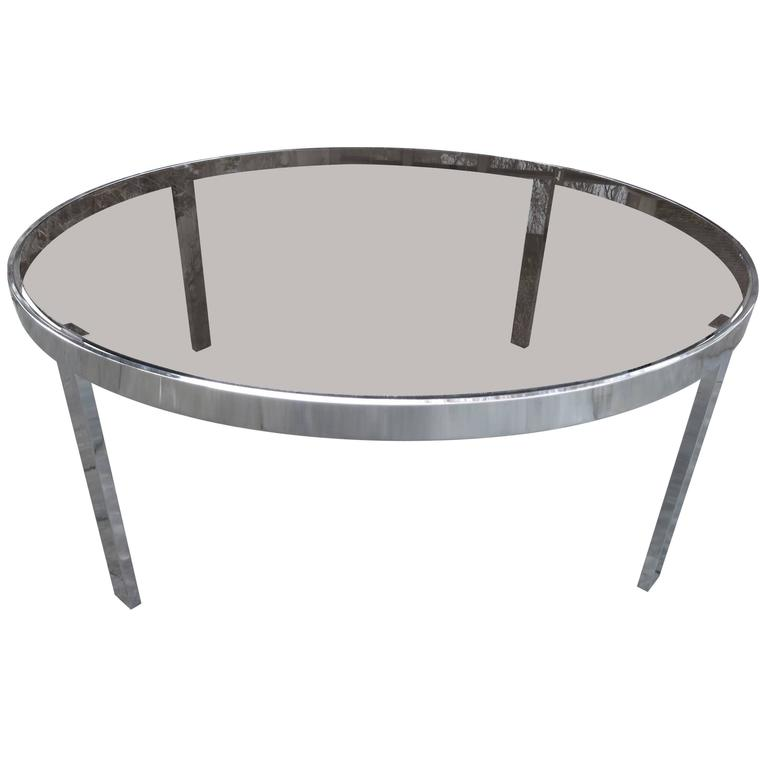 a36b1e9db8580 Sexy Milo Baughman Round Chrome Glass Coffee Table Mid-Century Modern For  Sale
