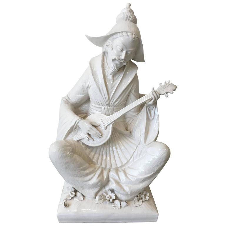 1960s Blanc de Chine Large Male Figure Playing Instrument