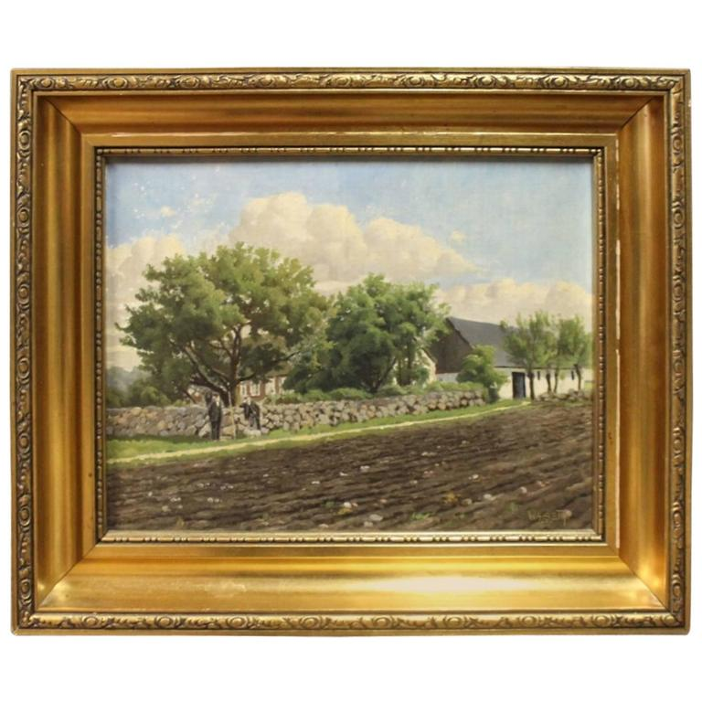 Oil Painting of Denmark Out in the Country by Niels Walseth For Sale