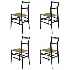 Set of Four Vintage Superleggera Chairs by Giò Ponti
