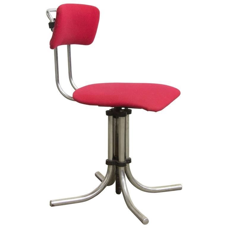 1960s, Fana Metaal Schiedam, Adjustable Swivel Office Chair