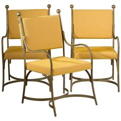 Set of Three Heavy Simulated Rope Metal Chairs, 1960s