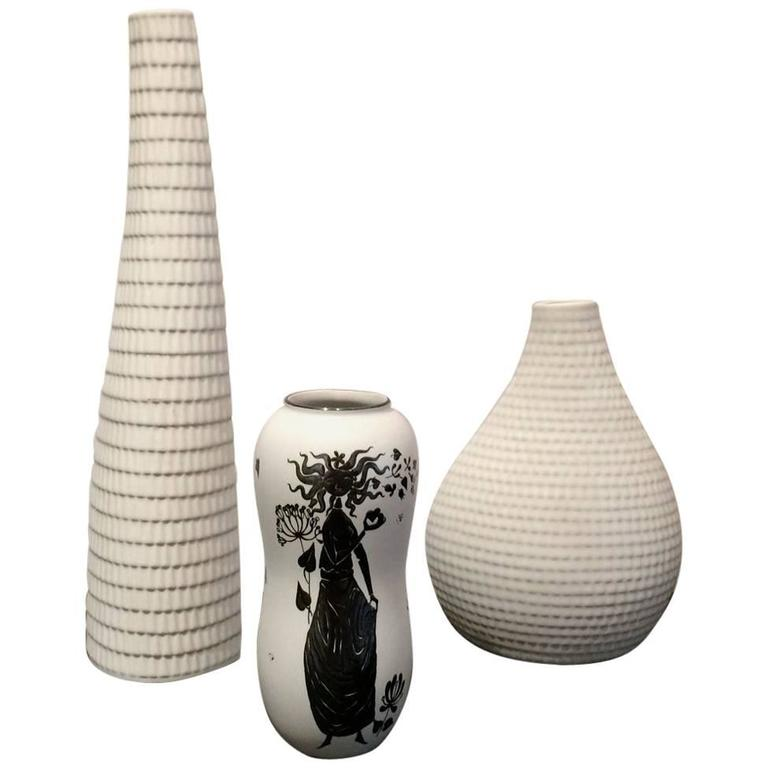 Stig Lindberg For Gustavsberg Set Of Three Vases For Sale At 1stdibs