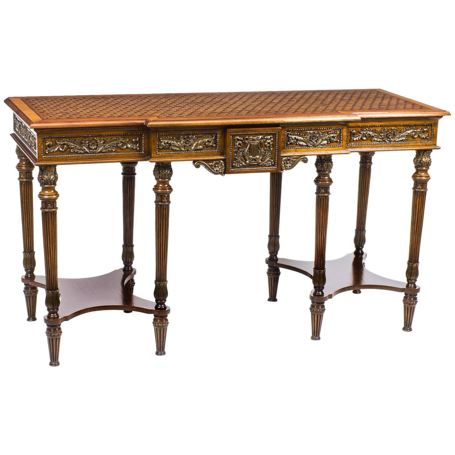 Vintage walnut breakfront parquetry console table 20th for 10 inch depth console table