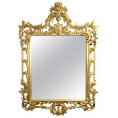 Elaborate Gilded Hand-Carved George II Style Mirror