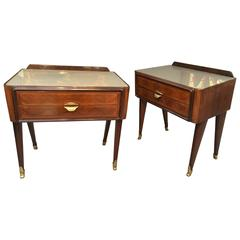 Fabulous Pair of 'Dassi' 1950s Rosewood and Satinwood Parquetry Side Tables