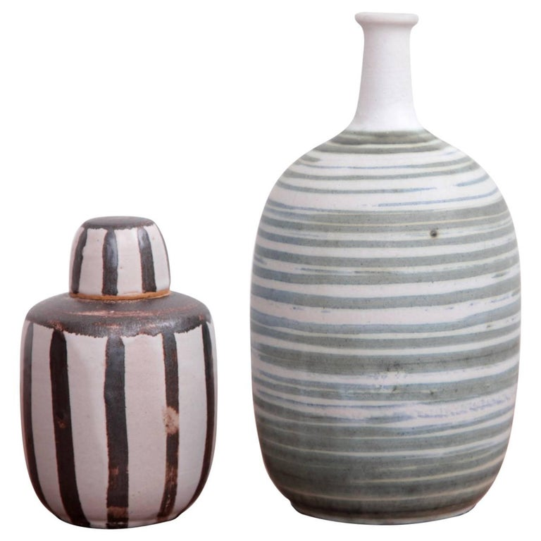 Set of Two Studio Art Pottery by Ahlstrom, California, 1960s For Sale