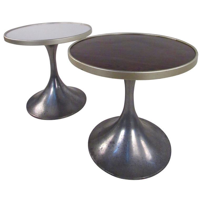 Pair of German Modern Tulip Pedestal Side Tables by HW Metallbau