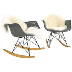 Pair of Charles and Ray Eames for Herman Miller 'RAR' Rockers with Sheepskins