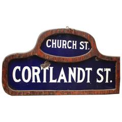 New York City Street Sign Church Street and Cortlandt Street