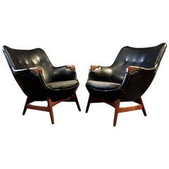 Pair of Erling Torvits Lounge Chairs, Black Naugahyde and Teak, Denmark, 1956