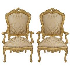 True Pair of Italian Early 19th Century Venetian Giltwood Armchairs