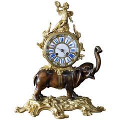 French Bronze Elephant Clock, circa 1860