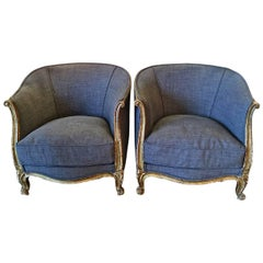 Pair of French Deco Barrel Back Bergeres Club Chairs