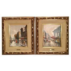"Antonio DeVity Original Oil on Canvas Paintings ""Paris Street Scenes"""