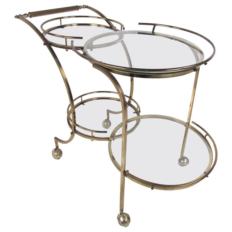 Mid-Century Modern Circular Brass Bar Cart