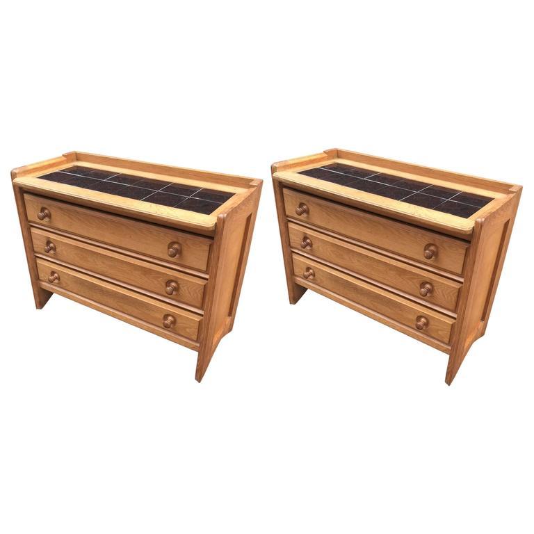 Guillerme et Chambron, Pair of Oak Chests of Drawers, Edition Votre Maison