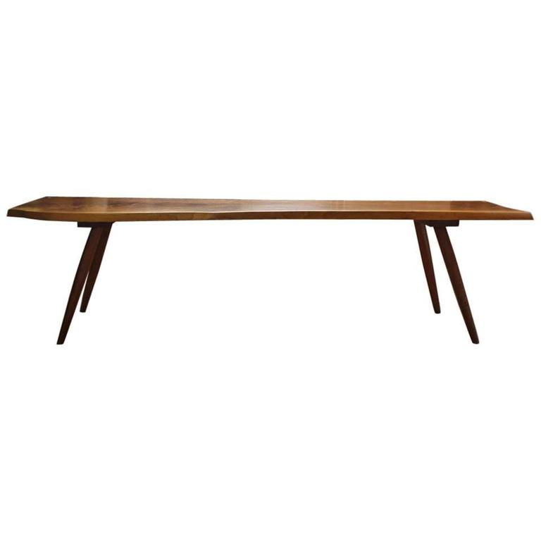 Nakashima Style Free Edge Turned-Leg Walnut Bench, 20th Century