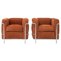 Set of Le Corbusier LC2 Lounge Chairs for Cassina Reupholstered in Suede