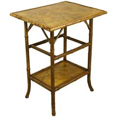 Antique Bamboo Decoupage Side Table with World Maps