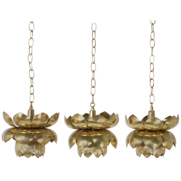 Three Brass Lotus Lights