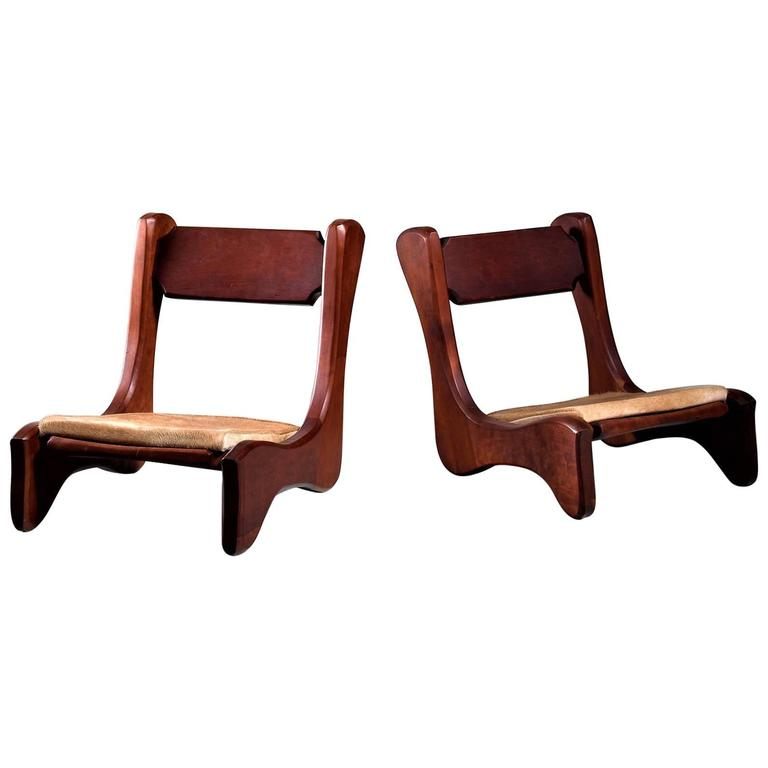 Pair Of American Low Pastor Chairs With Cowhide Seat Pad By John Mcalevey 1972 For