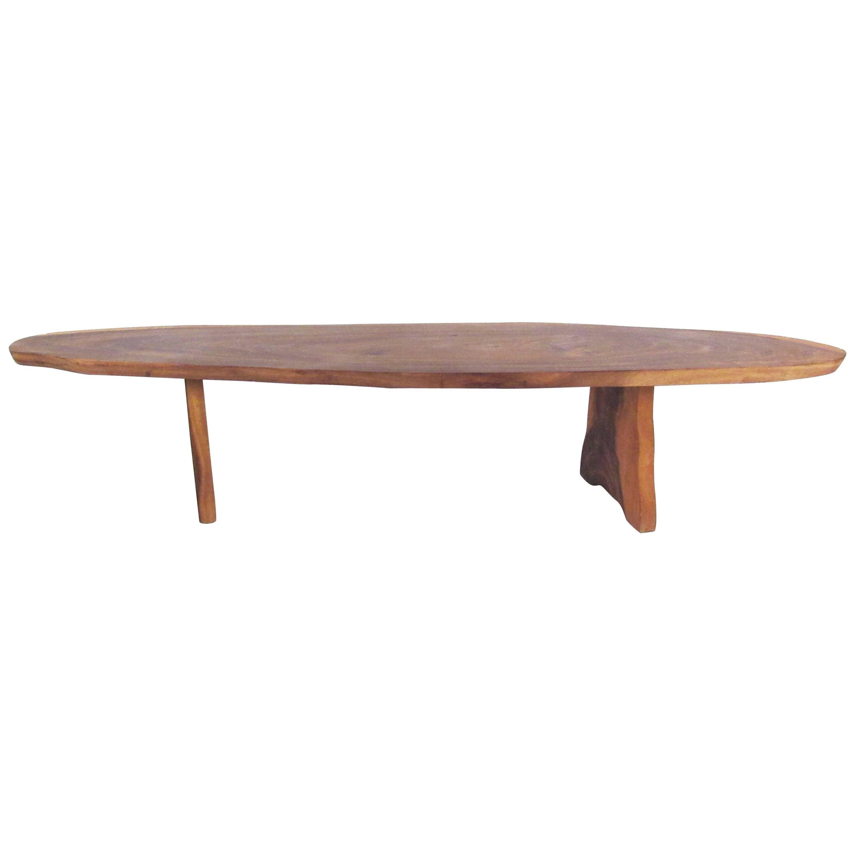 Rustic Free Edge Tree Slab Coffee Table