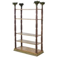 Mid-Century Modern Carved Wood Etagere with Palm Leaf Finials
