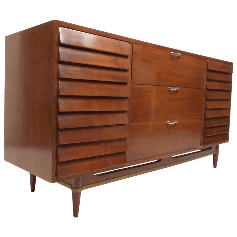 Mid-Century Modern Walnut Dresser by American of Martinsville
