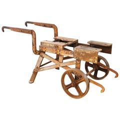 Outdoor Object Steel & Iron Factory Shop Rolling Bar Cart Table Wheelbarrow