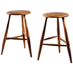 Wendell Castle Pair of Wooden Craft Stools, USA, 1980s
