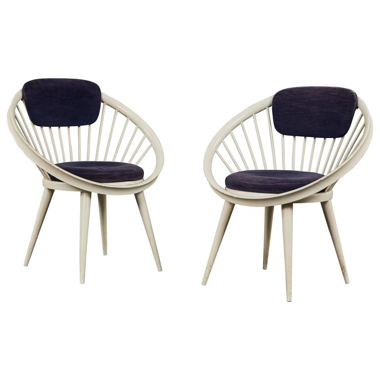 Rare Pair of Circular Chairs by Yngve Ekström for Swedese