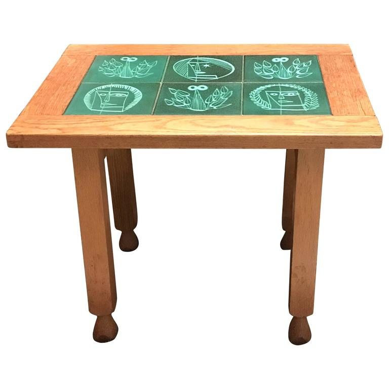 Guillerme et Chambron Oak Table with Ceramics by Danikowski
