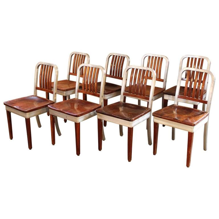 Set Of Eight Vintage Wood And Metal, Aluminium Side Shaw Walker Dining  Chairs For Sale