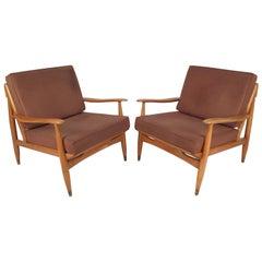 Mid-Century Modern Oak Lounge Chairs