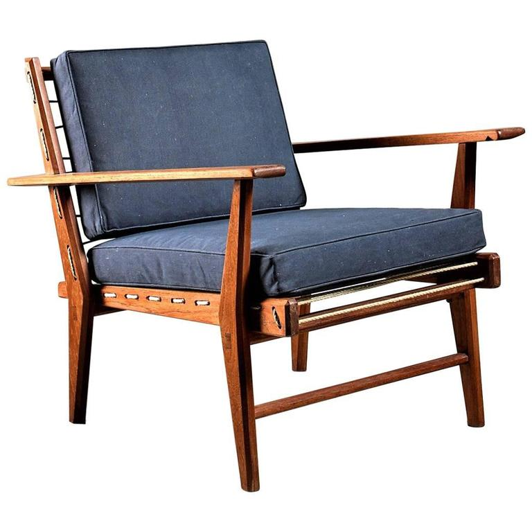 Italian 1950s Rope Chair in Solid Teak with New Anthracite Canvas Upholstery For Sale  sc 1 st  1stDibs & Italian 1950s Rope Chair in Solid Teak with New Anthracite Canvas ...