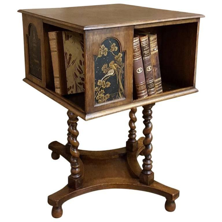 antique german hand crafted swivelling bookcase end table
