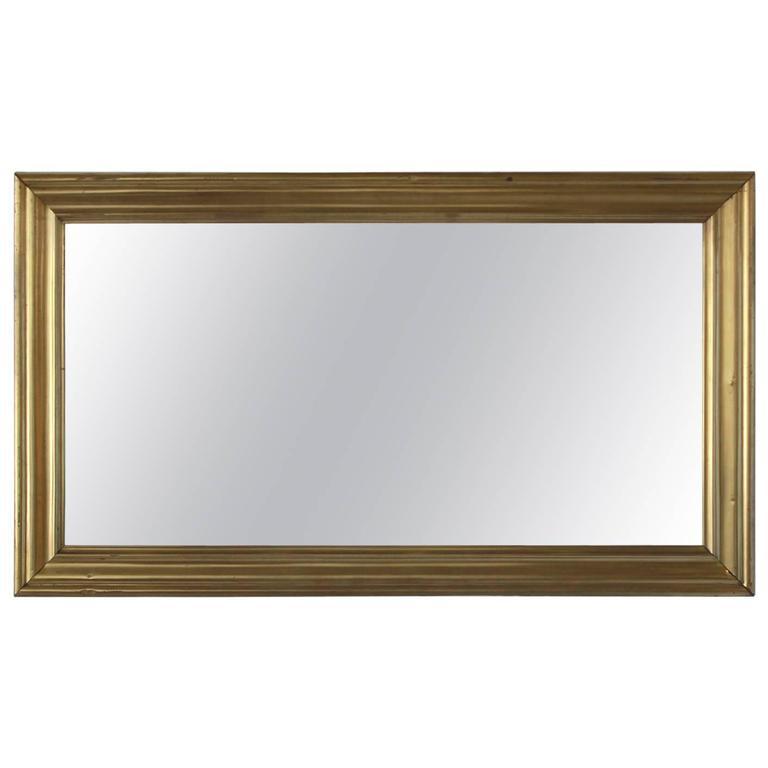 Long Brass Rectangular Mirror For Sale