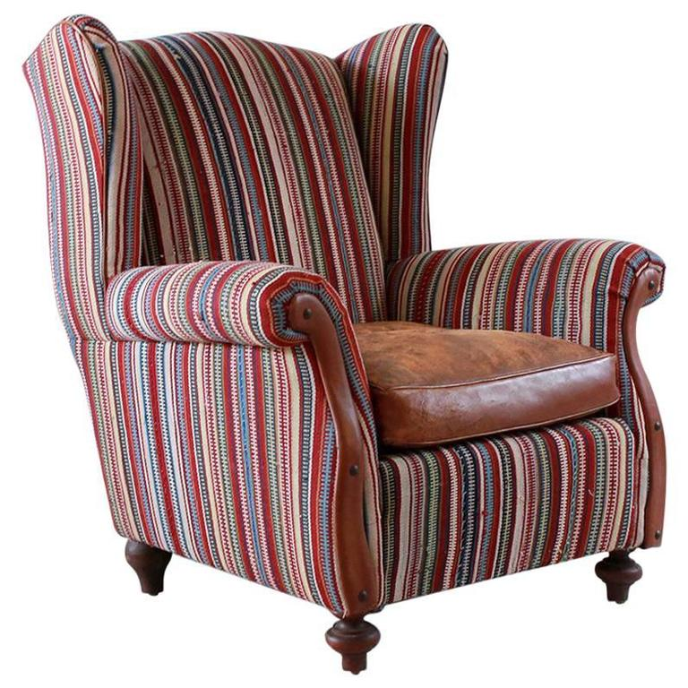 Italian Kilim Wing Back Chair with Original Leather Seat For Sale