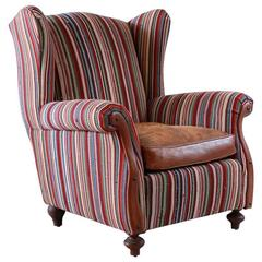 Italian Kilim Wing Back Chair with Original Leather Seat
