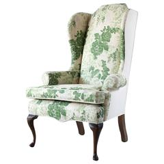 Vintage Wing Chair Upholstered in Green Floral Fabric