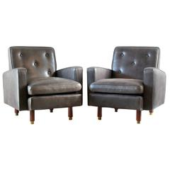 Pair of Masculine Leather Club Chairs
