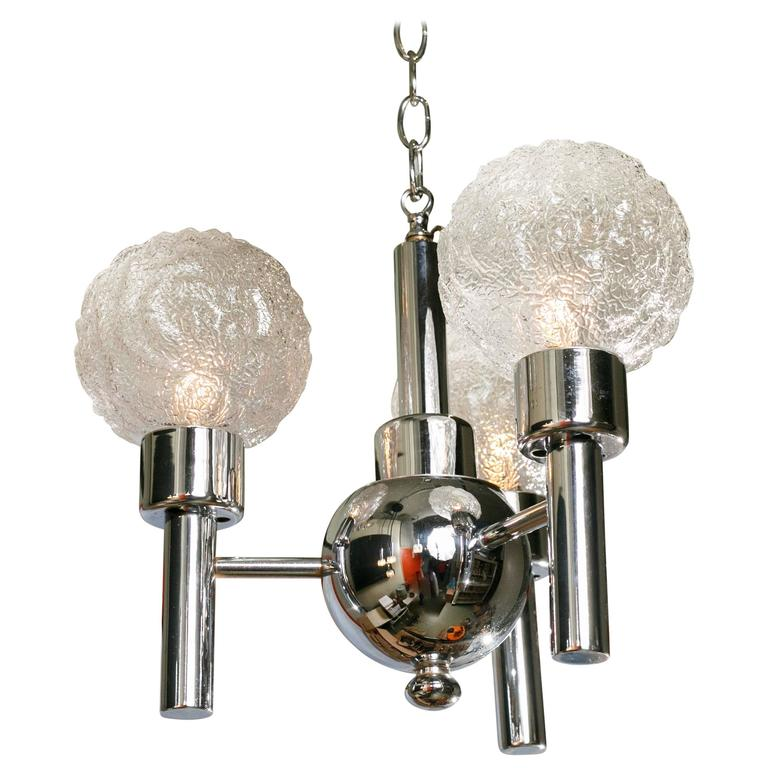 Mid century modern chrome and glass three globe light for for Mid century modern globe pendant light