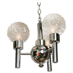 Mid-Century Modern Chrome and Glass Three Globe Light